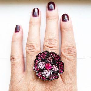 Chic gunmetal & pink rhinestone chunky flower ring